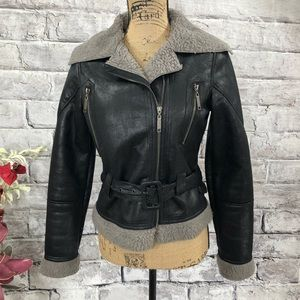 Jou Jou Faux Leather and Shearling Moto Jacket